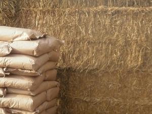Производим пеллеты из соломы. Straw pellets