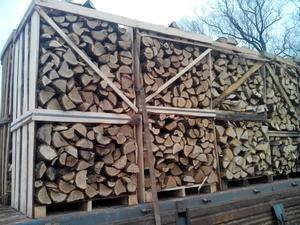 Дрова дубовые колотые в ящиках